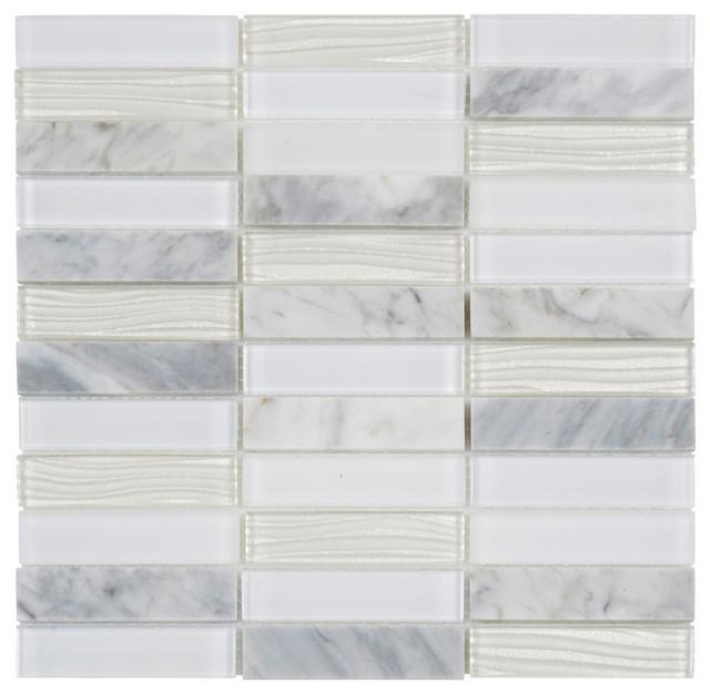 Sample Carrara White Marble Gray Glass Linear Mosaic: White Carrara Marble Mosaic Tile Wave Glass Wall