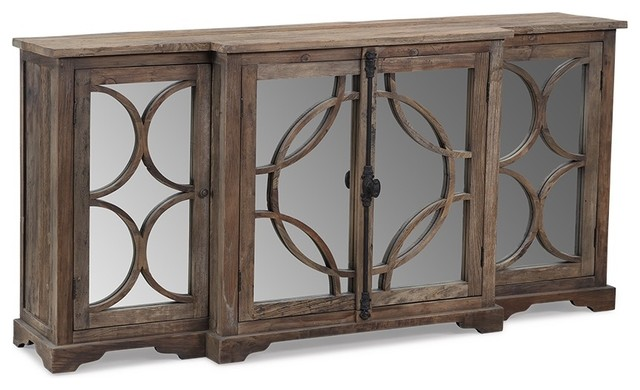 Ainsworth Reclaimed Wood Sideboard With Mirrored Doors