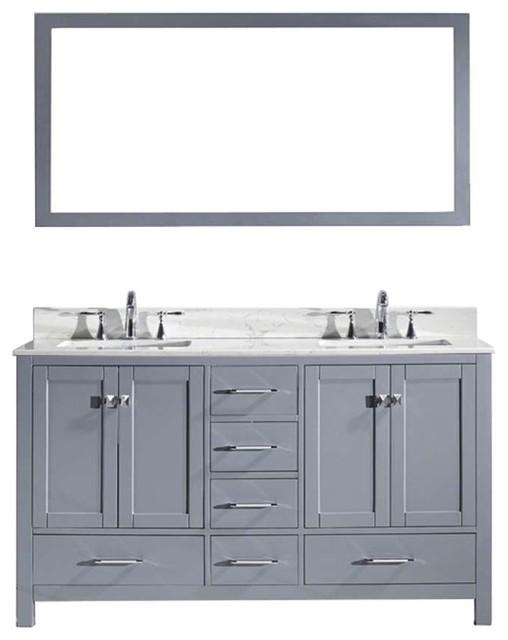Caroline Avenue 60 Double Bathroom Vanity Set Gray, Marble Top.
