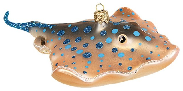 Blue Spotted Stingray Polish Mouth Blown Glass Christmas Ornament - Blue Spotted Stingray Polish Mouth Blown Glass Christmas Ornament