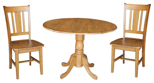 Odell 3 Piece Dining Set With Drop Leaf Table
