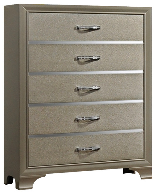 Delphine Champagne & Chrome Wood 5 Drawer Chest.
