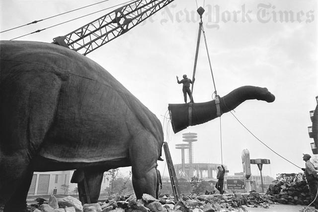World's Fair Dinosaur Dismantled - 1965 Photograph