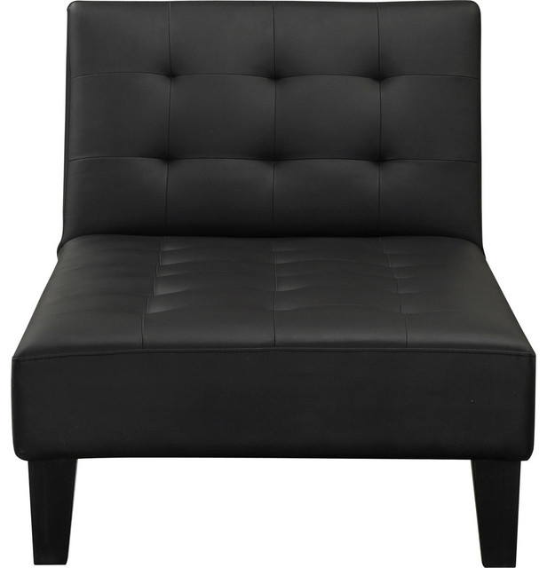 Black Faux Leather Upholstered Chaise Lounge Convertible Reclining Sleeper Bed indoor-chaise-lounge-  sc 1 st  Houzz : recliner chaise lounge chair - Sectionals, Sofas & Couches