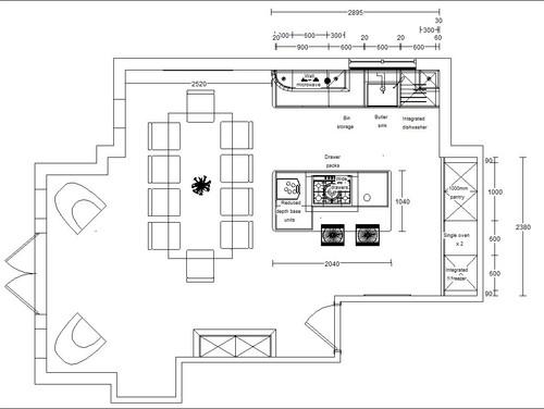 Need help with open plan kitchen design for Kitchen design 5m x 6m