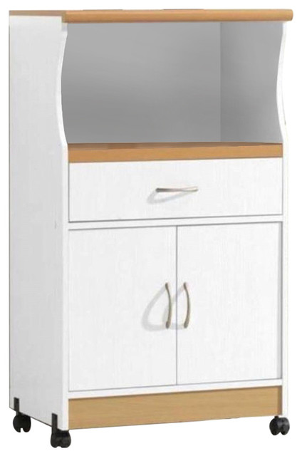 White Kitchen Utility Cabinet Microwave Cart With Caster