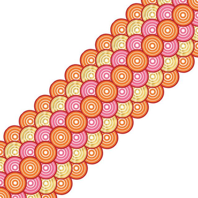 Brewster Home Fashions Geo Circles Stripe Pink Orange