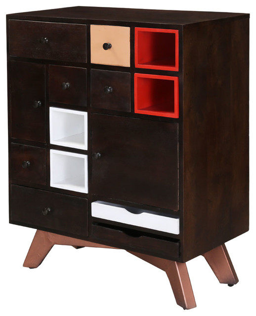 """Modern 38"""" Mango Wood Free Standing Rustic Chest of Drawer ..."""