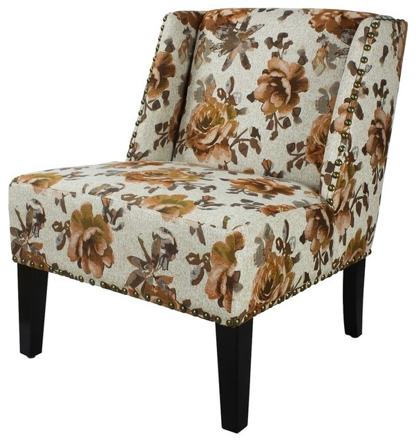 Adeco Floral Print Fabric Lien Chair For Living Dining Room With
