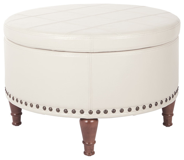 Outstanding Alloway Faux Leather Storage Ottoman With Antique Bronze Nailheads Cream Theyellowbook Wood Chair Design Ideas Theyellowbookinfo