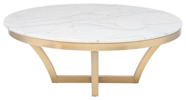 Aurora Coffee Table White And Gold Finish Contemporary