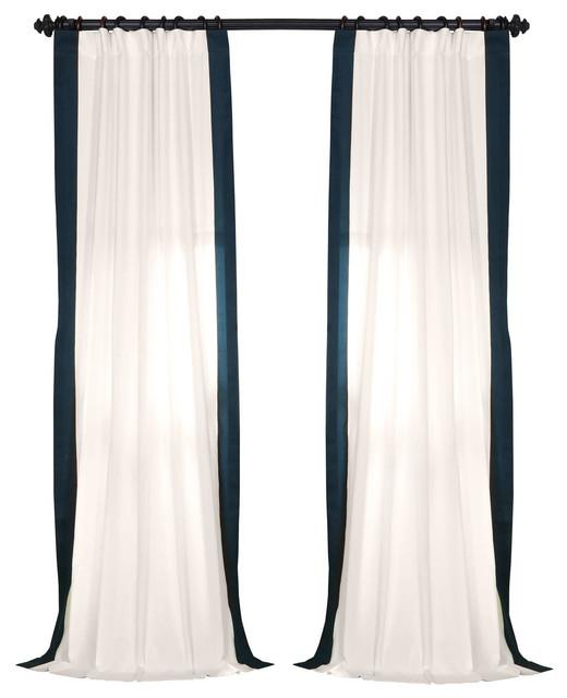 "Vertical Colorblock Panama Single Panel Curtain, Polo Navy, 50""x96"""