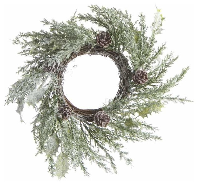 Natural Look Snowy Cypress Pine Candle Ring.