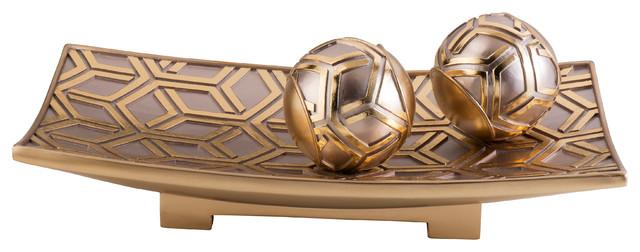 Gold Decorative Bowl Entrancing Rose Gold Savannah Decorative Bowl With Spheres  Contemporary Design Decoration