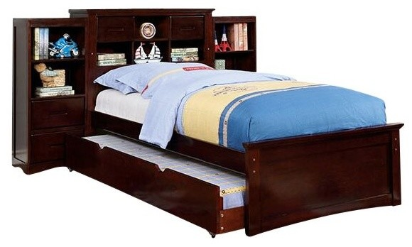 Boat Bed With Trundle And Toy Box Storage: Eldridge Bookcase Pier Bed With Trundle