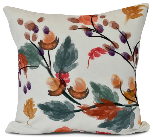 Acorn Floral, Floral Print Indoor/Outdoor Pillow, Rust ...