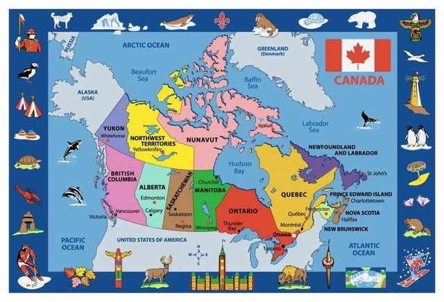 Map Of Canada Kids.Map Of Canada Kids Multicolor Rug