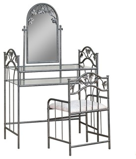Metal Vanity with Glass Top and Stool With Fabric Seat