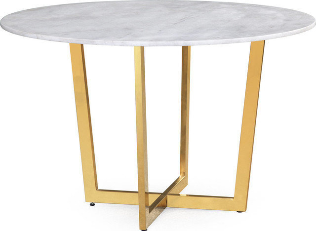 Maxim Marble Dining Table, White by TOV Furniture