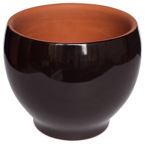 obo ceramic pot black 6 5 quot high contemporary indoor pots and planters by hg global