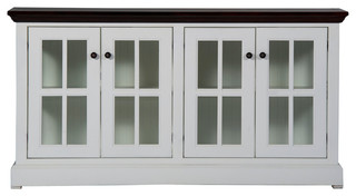"""63"""" West Winds Credenza, Base: Bright White, Top: Caribbean Rum"""