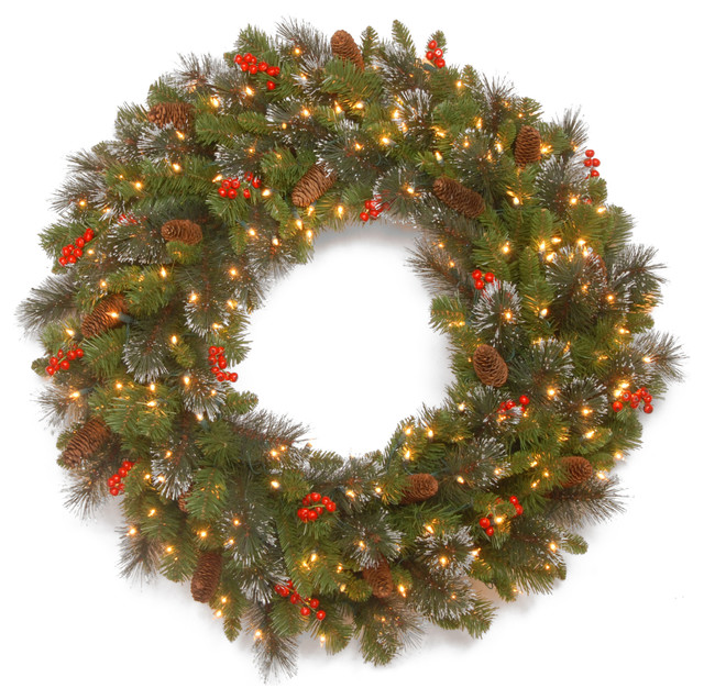 """30"""" Crestwood Spruce Wreath With Battery Operated Warm White Led Lights."""