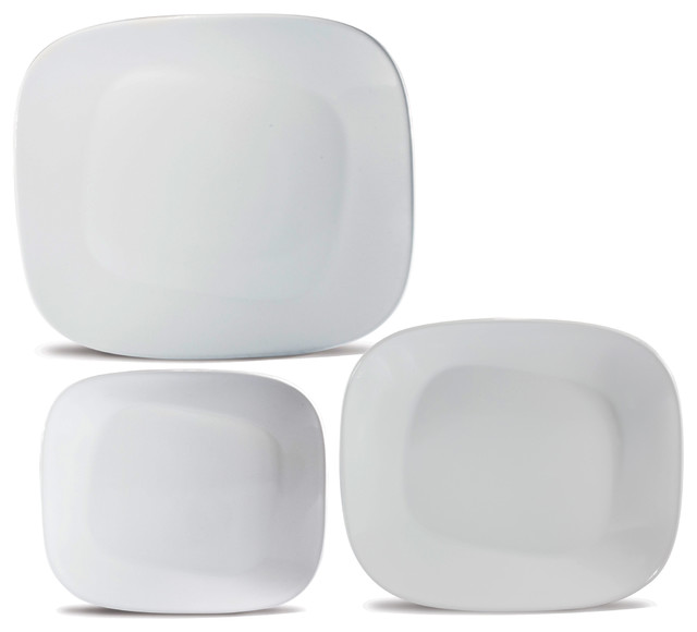 Collection White Dinner Set Contemporary Dinnerware Sets Square For 8 Clearance Uk