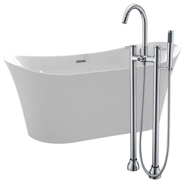 "Eft 67"" Acrylic Flatbottom Bathtub, White, Sol Faucet, Polished Chrome."