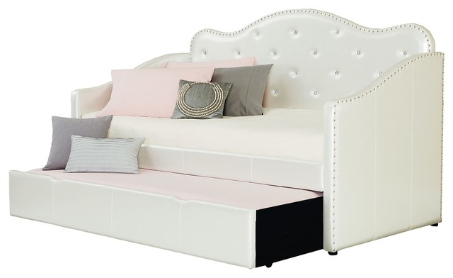 Standard Furniture Caroline Twin Upholstered Daybed, Pearlescent White.