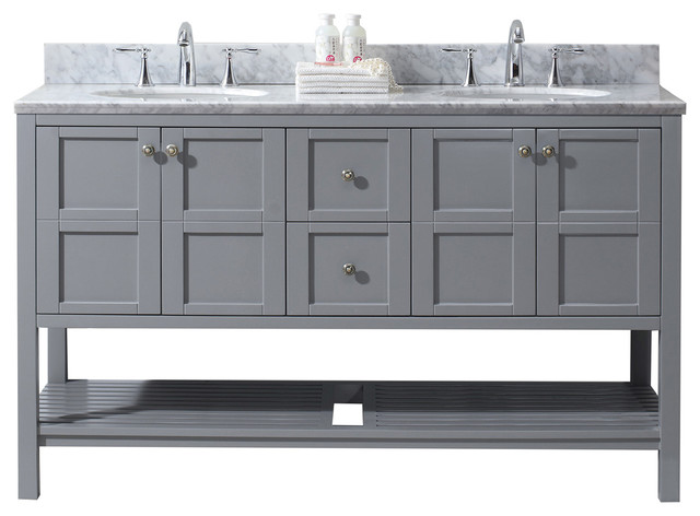 Winterfell 60 Double Bathroom Vanity Set, Gray With No Mirror.