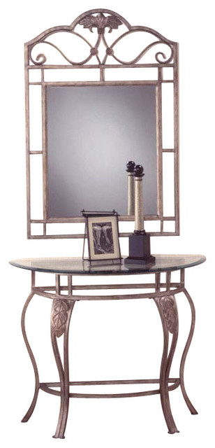 Hillsdale Bordeaux Half Moon Console Table With Mirror In Bronze Pewter