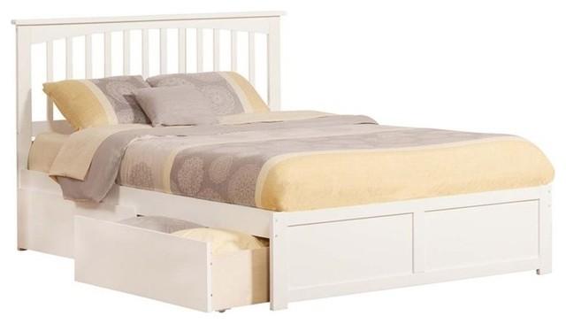 Atlantic Furniture Mission Urban Queen Storage Platform Bed, White.