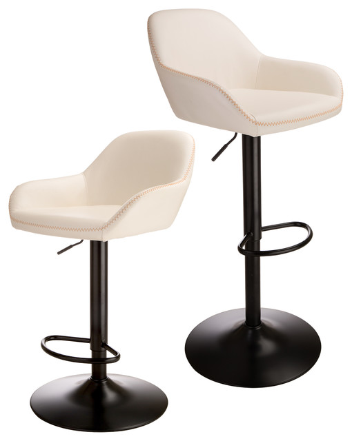 Superb Cream White Leatherette Bar Stool Set Of 2 Gamerscity Chair Design For Home Gamerscityorg