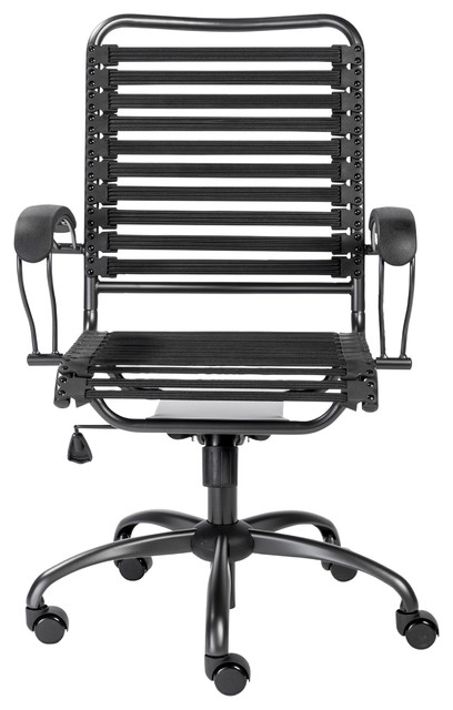 Bungie Flat J-Arm High Back Office Chair, Black With Graphite Black Base