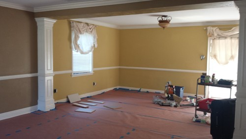 Living Room Beige Ish Walls Leading To Dining Yellow