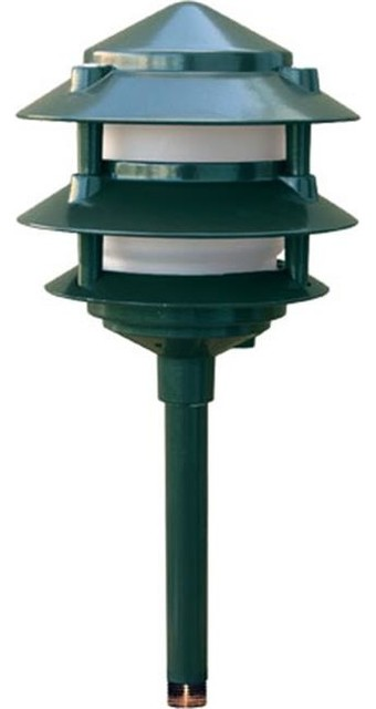 Dabmar Lighting Cast Aluminum 3-Tier Pagoda Light, Green