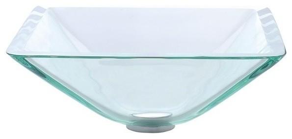 Square Glass Vessel Bathroom Sink With Pop-Up, Aquamarine, Chrome.