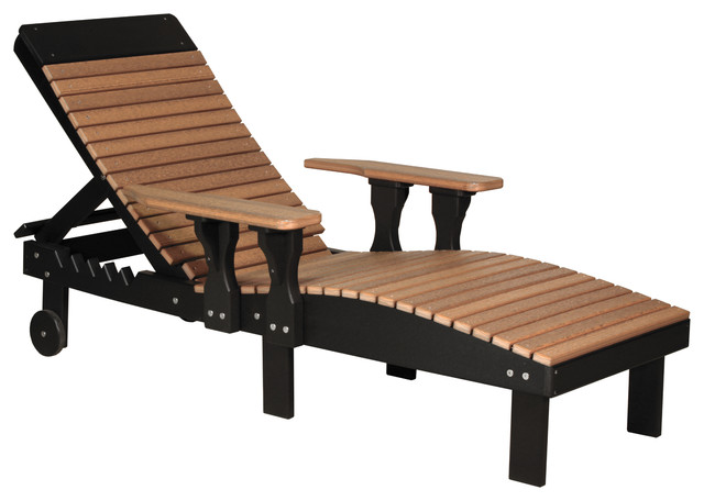 Outdoor Poly Reclining Lounge Chair, Antique Mahogany, Antique Mahogany/black.