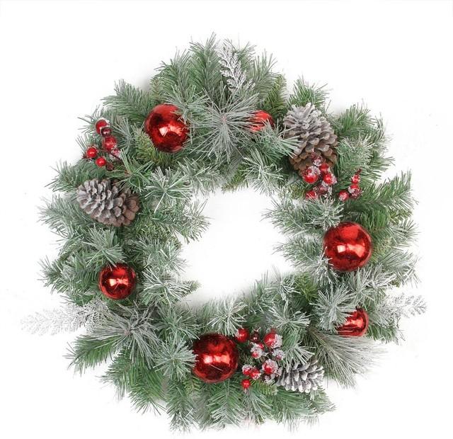 24 Flocked Pine Red Ball Berries Silver Cedar Artificial Christmas Wreath