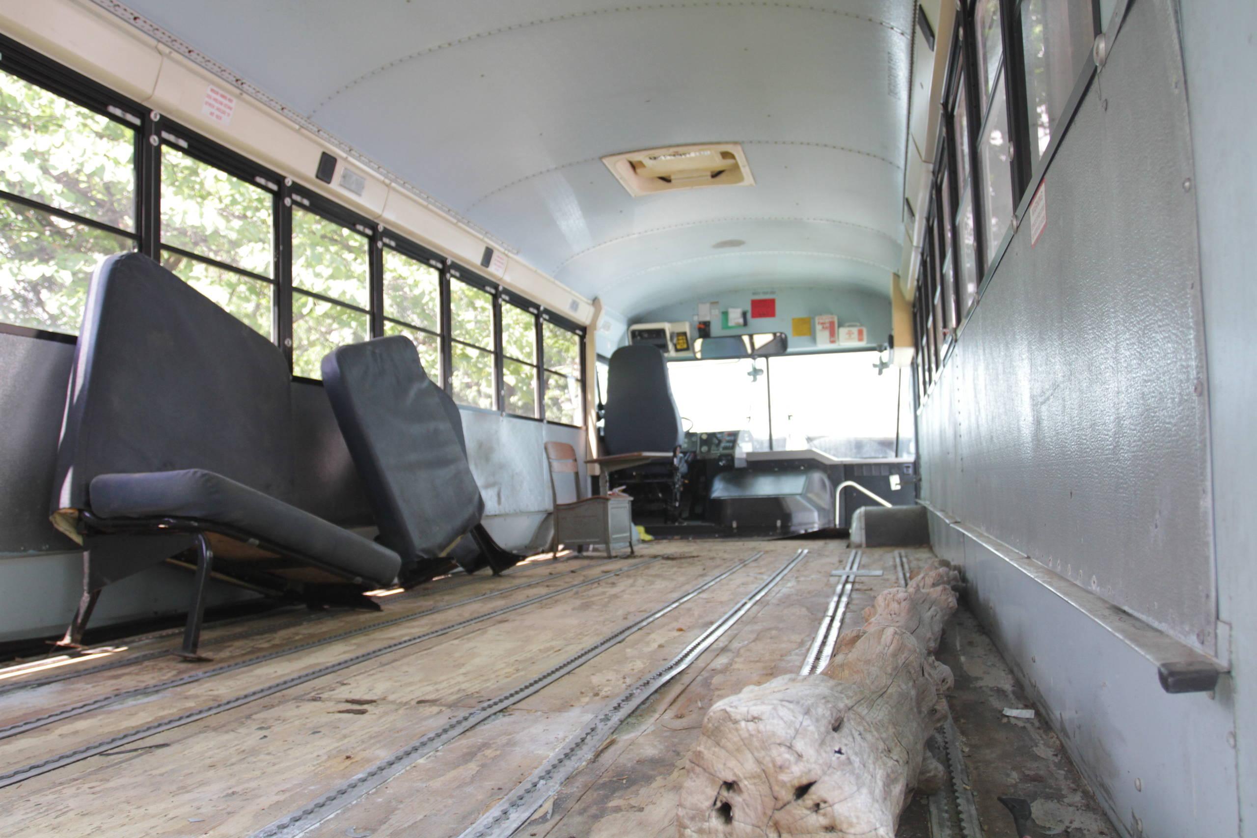 Vintage school bus traveling home renovation