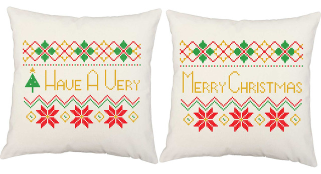 Ugly Christmas Sweater Throw Pillows, In/Outdoor Covers and Cushions