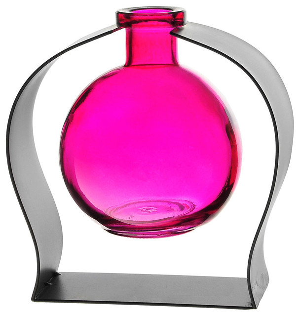 Couronne Co. Ball Recycled Glass Vase and Arched Metal Stand, Fuchsia
