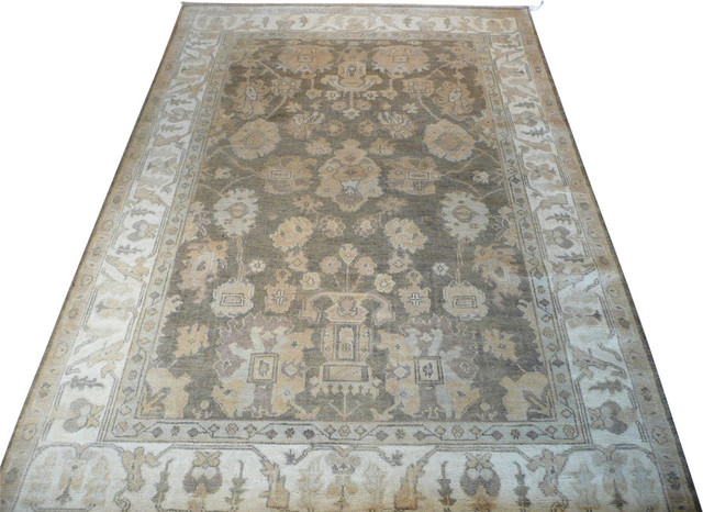 Captivating 6x9 Hand Knotted Gray Oushak Oriental Rug Traditional Area Rugs