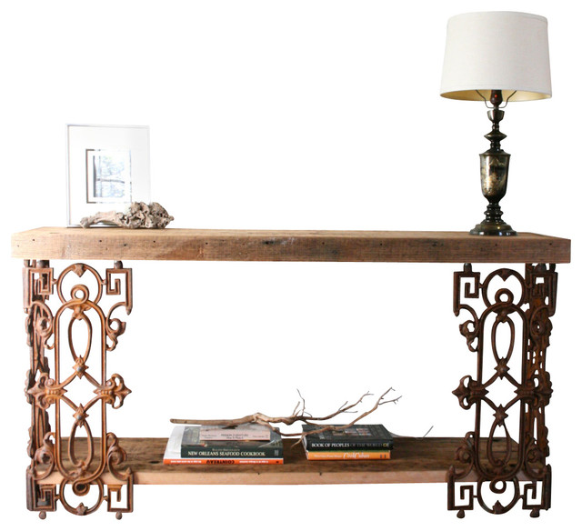 Piety Table Sofa Or Writing Desk Made From Reclaimed Wood And Wrought Iron