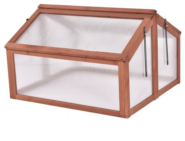 Modern Double Box Garden Wooden Greenhouse.