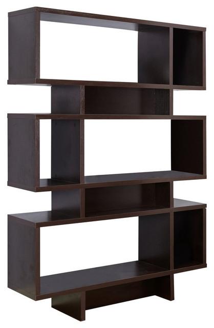 Wood Cube Bookcase Display Cabinet, Espresso.