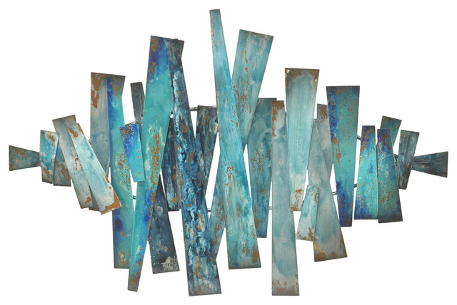 Patina Metal Slats Wall Decor.