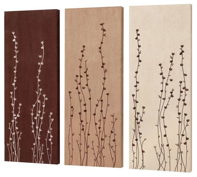 Wall Art Set Of 3 dainolite flower bud embroidery on suede wall art, set of 3