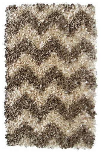 Shaggy Raggy Chevron Patterned Area Rugs, Natural, 4'7