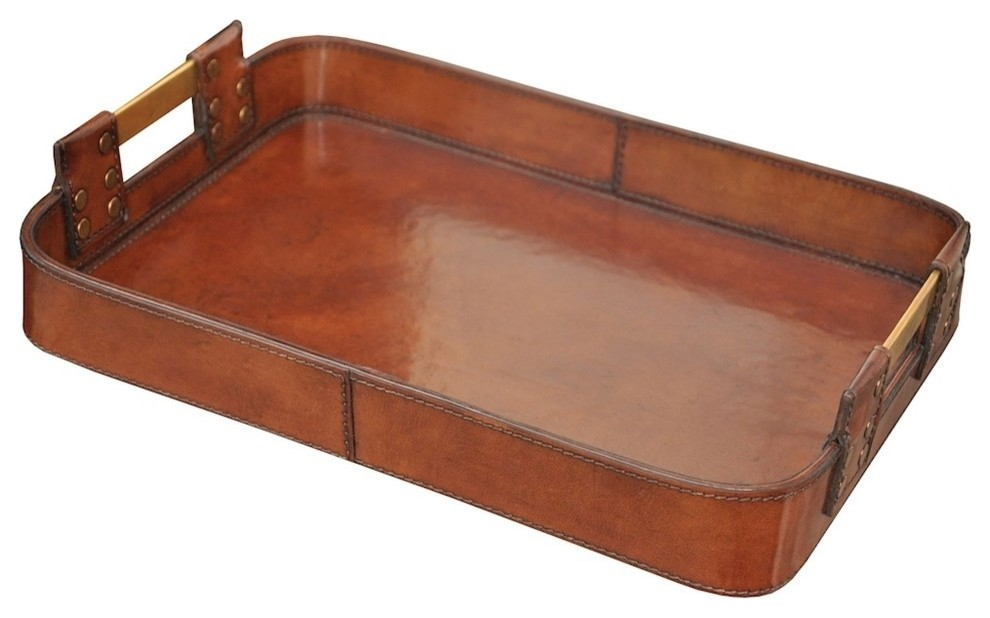 Leather Tray With Br Handles